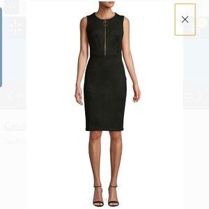 Calvin Klein zip front stretch faux suede dress